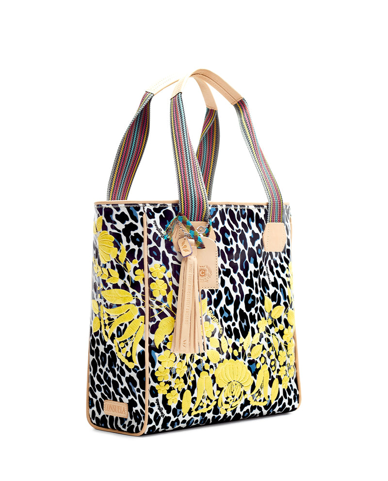 Gaby Classic Tote by Consuela in Lola ConsuelaCloth with yellow embroidery, side
