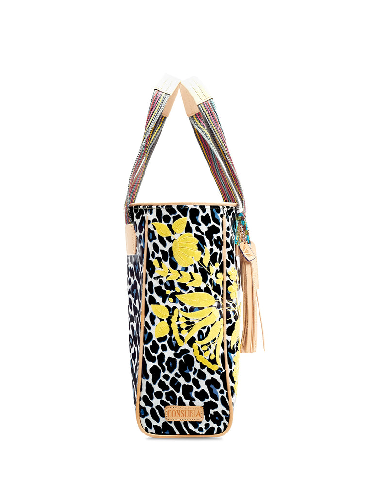 Gaby Classic Tote by Consuela in Lola ConsuelaCloth with yellow embroidery, back