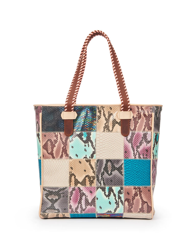 Sadie Classic Tote in patchwork snake print by Consuela, front