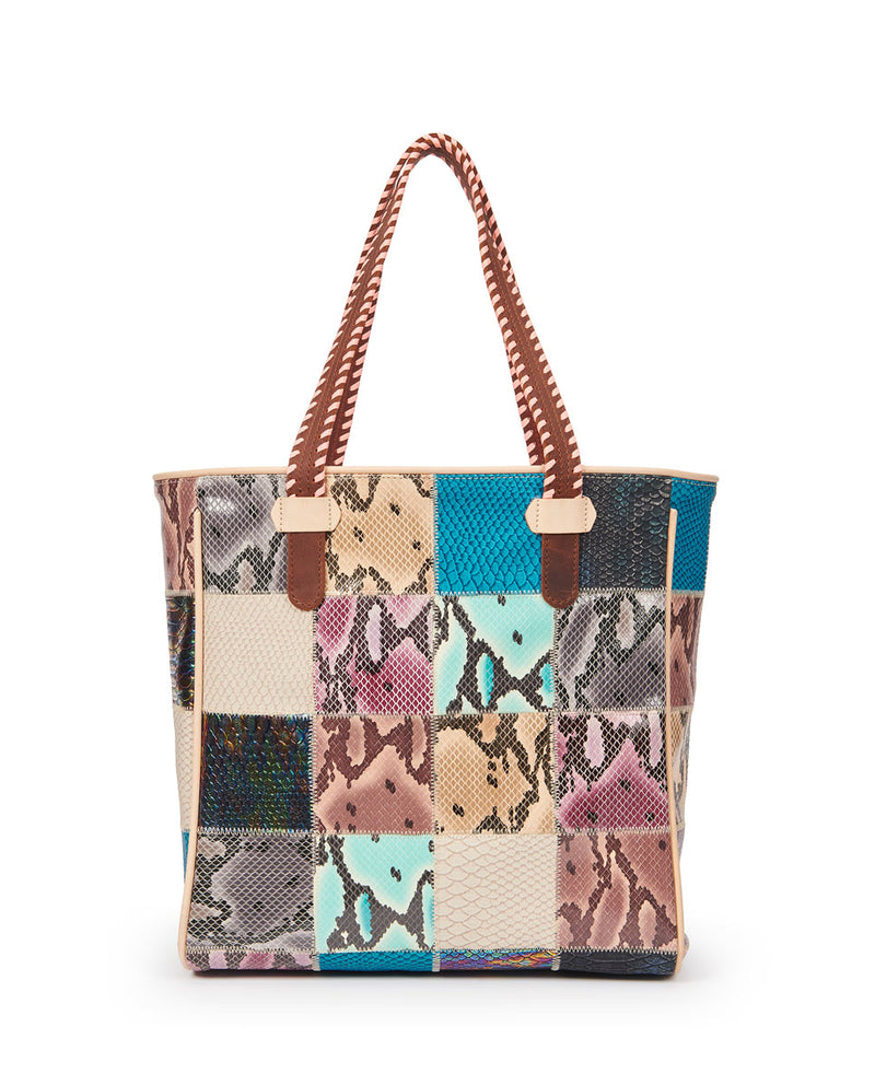 Sadie Classic Tote in patchwork snake print by Consuela, back