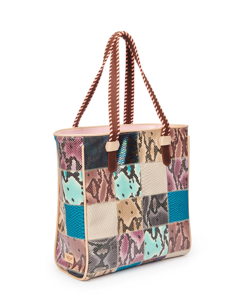 Sadie Classic Tote in patchwork snake print by Consuela, side