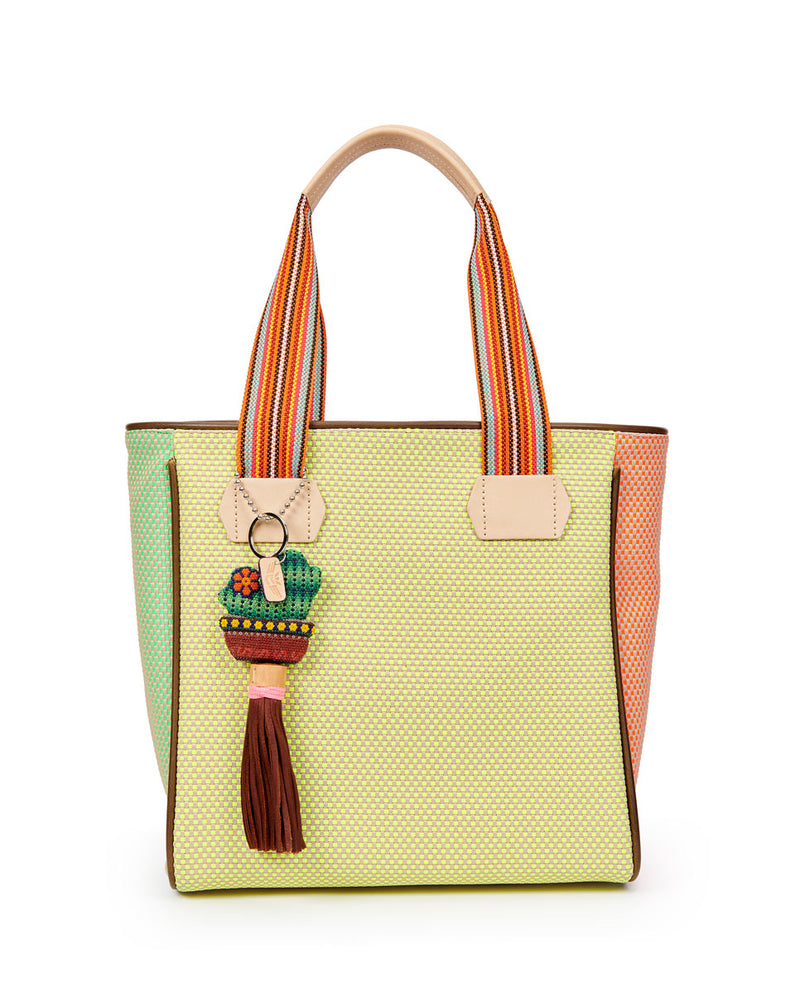 Rio Classic Tote with a bright colorful woven exterior by Consuela, front