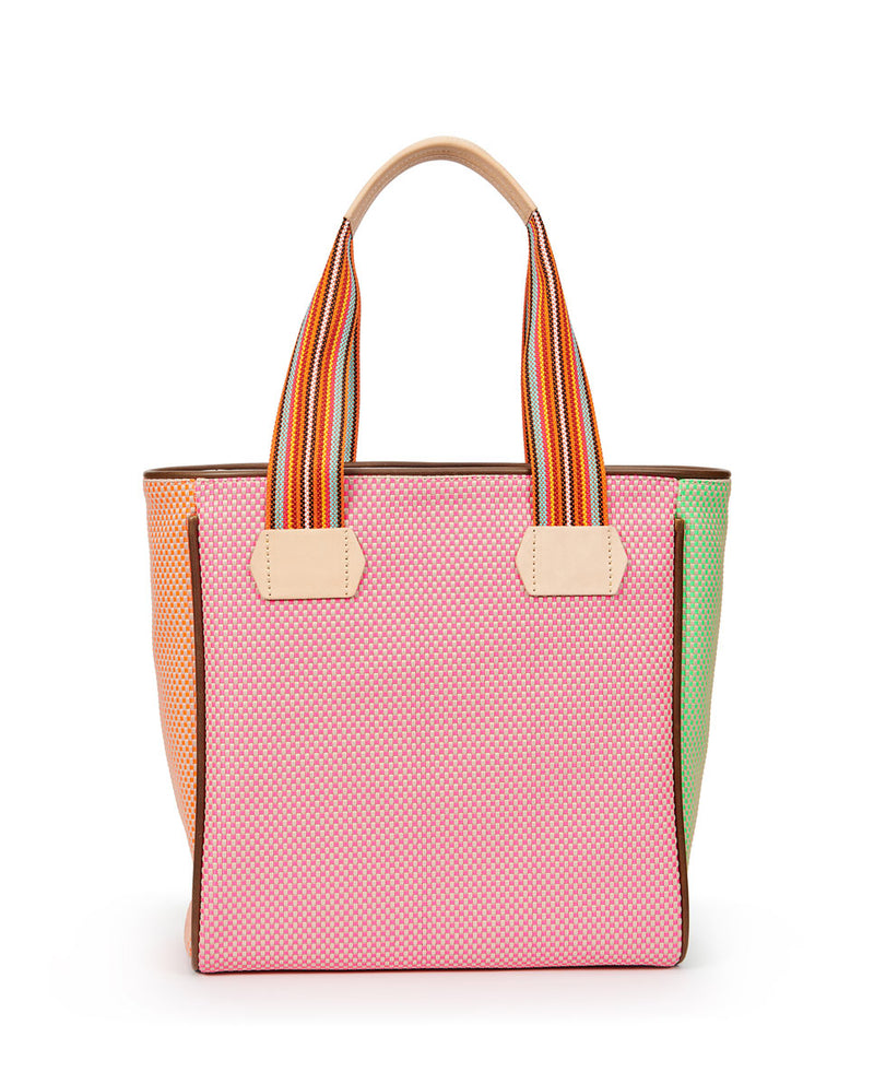 Rio Classic Tote with a bright colorful woven exterior by Consuela, back