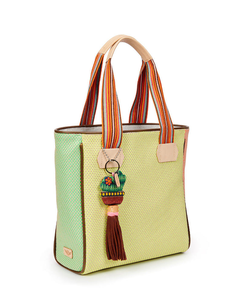 Rio Classic Tote with a bright colorful woven exterior by Consuela, side