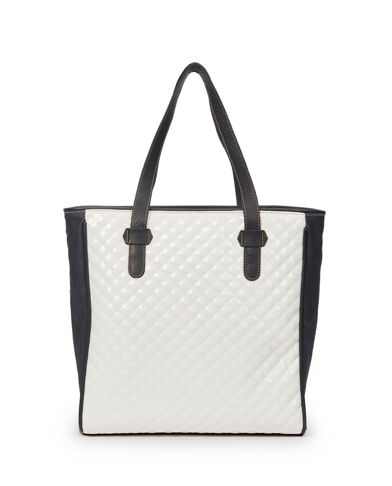 Tate Classic Tote with a quilted white exterior by Consuela, back