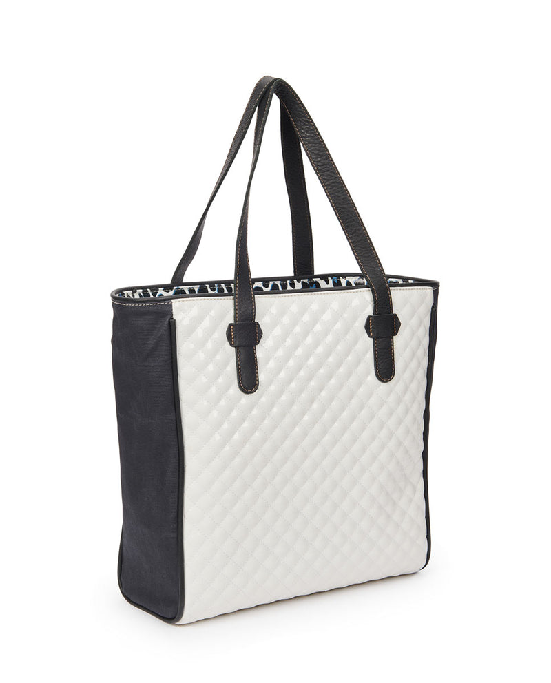 Tate Classic Tote with a quilted white exterior by Consuela, side