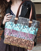 Miley Classic Tote with colorful snake print panels by Consuela, model view