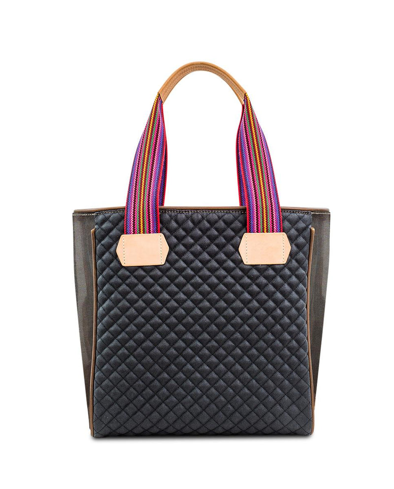 Venice Classic Tote in black quilted waxed canvas with embroidery by Consuela, back view