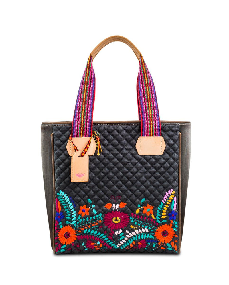 Venice Classic Tote in black quilted waxed canvas with embroidery by Consuela, front view