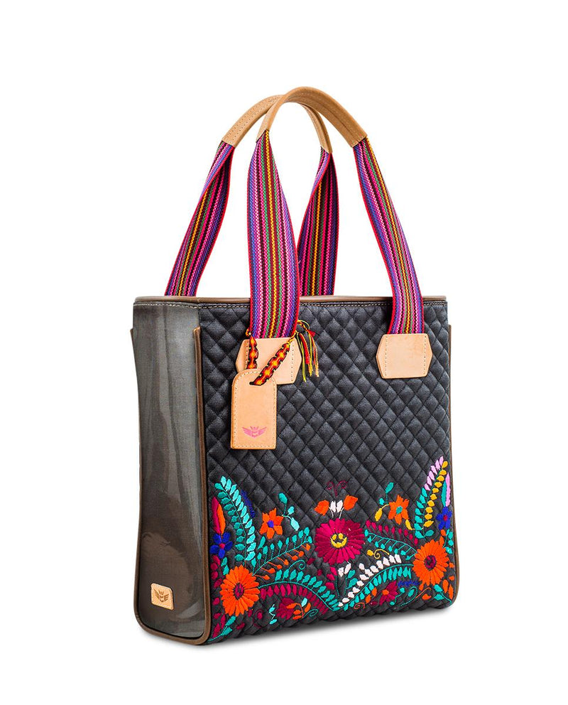 Venice Classic Tote in black quilted waxed canvas with embroidery by Consuela, side view