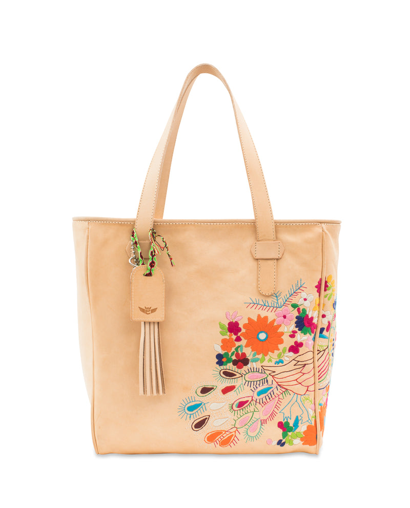 Sunny Classic Tote in natural leather with peacock embroidery by Consuela, front view