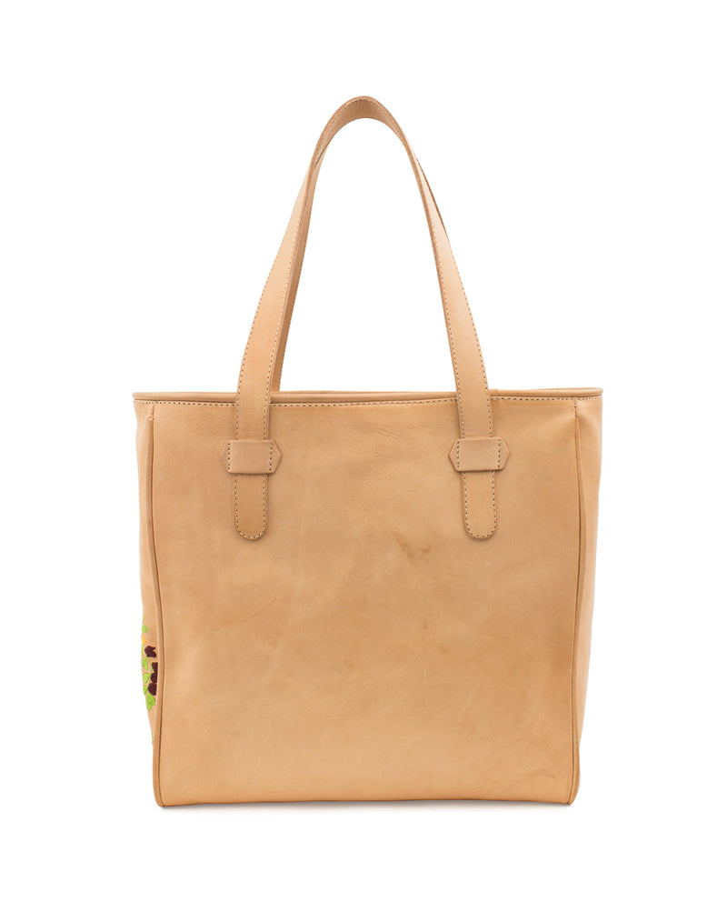 Sunny Classic Tote in natural leather by Consuela, back view