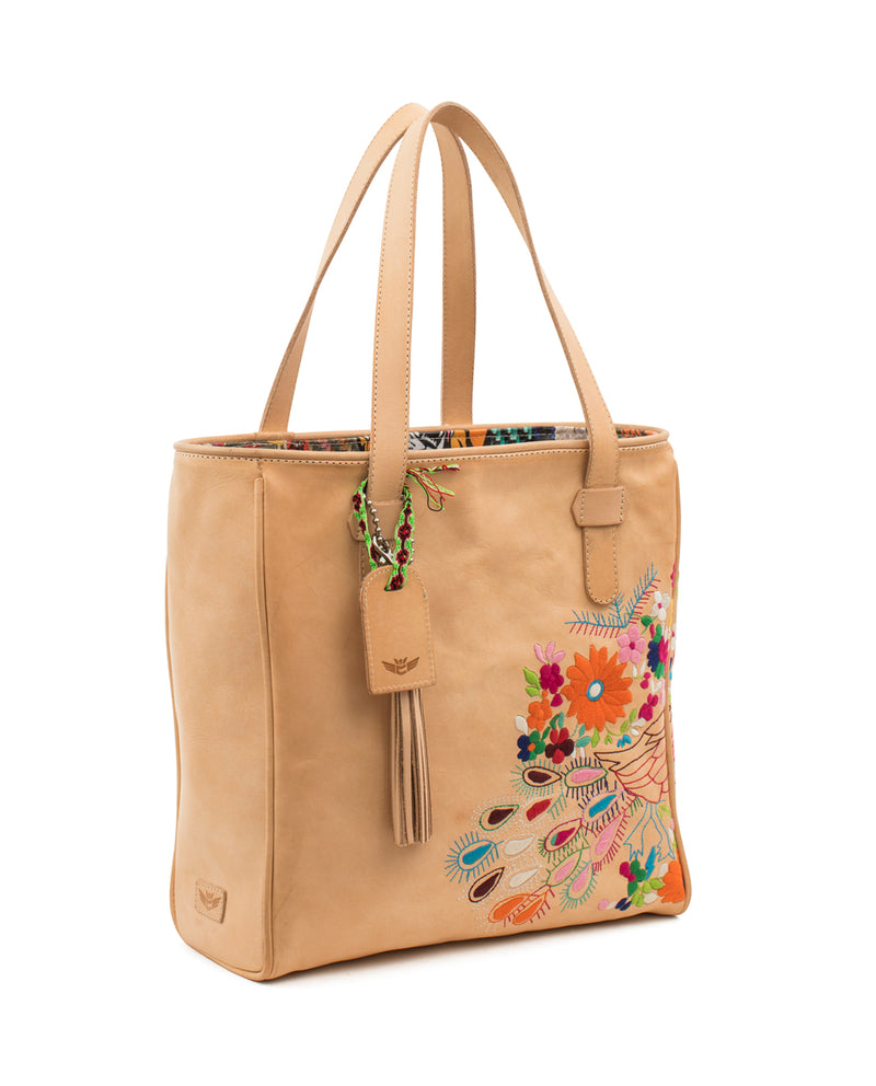 Sunny Classic Tote in natural leather with peacock embroidery by Consuela, side view