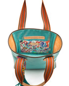 Summer Classic Tote in blue glitter jelly by Consuela, interior view with slide pocket