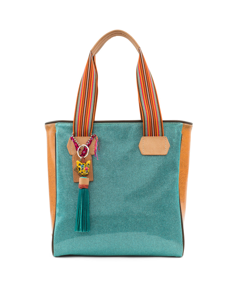 Summer Classic Tote in blue glitter jelly by Consuela, front view with tiger charm