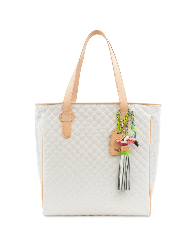Nina Classic Tote, quilted white, by Consuela, front view with flamingo charm