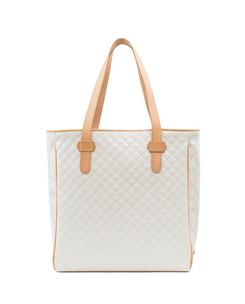 Nina Classic Tote, quilted white, by Consuela, back view