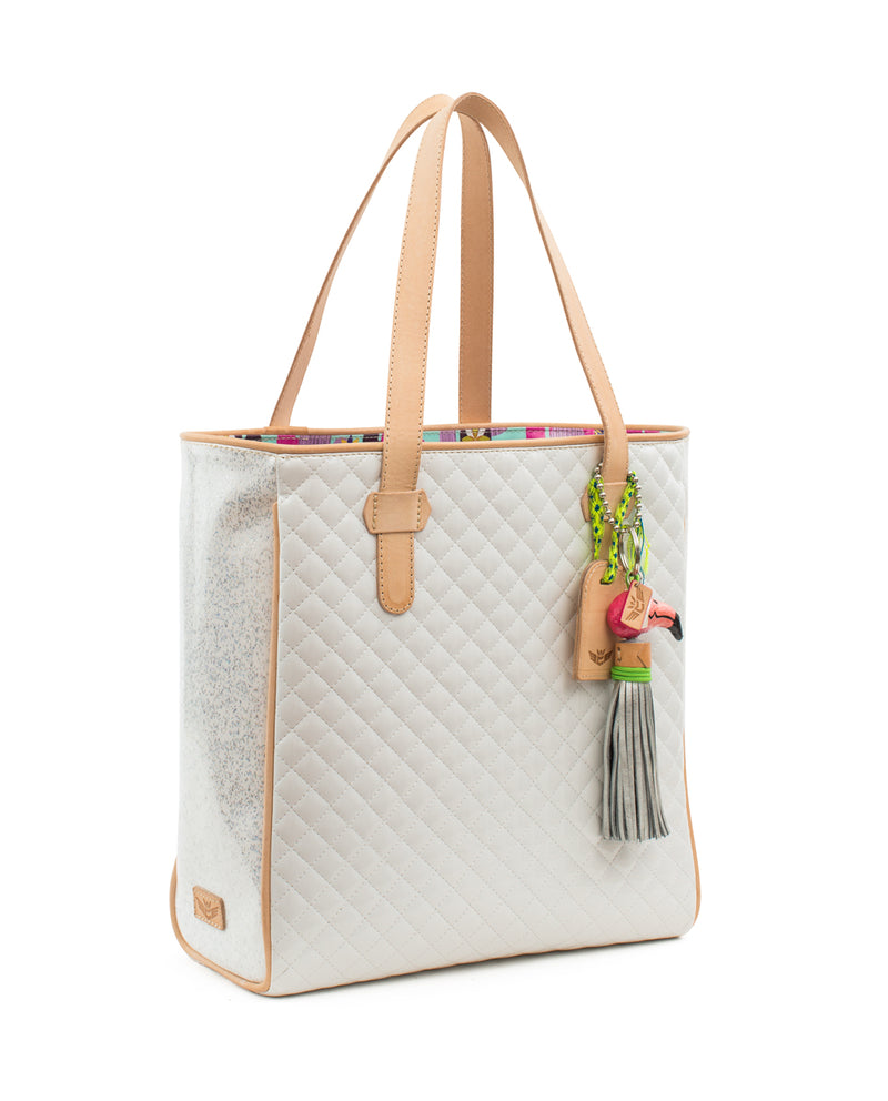 Nina Classic Tote, quilted white, by Consuela, side view