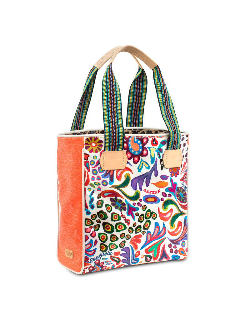 White Swirly Classic Tote in ConsuelaCloth™ by Consuela, side view