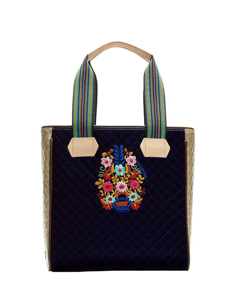 Felicia Classic Tote with quilted blue exterior and embroidery by Consuela, front view