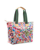 White Swirly Zipper Tote