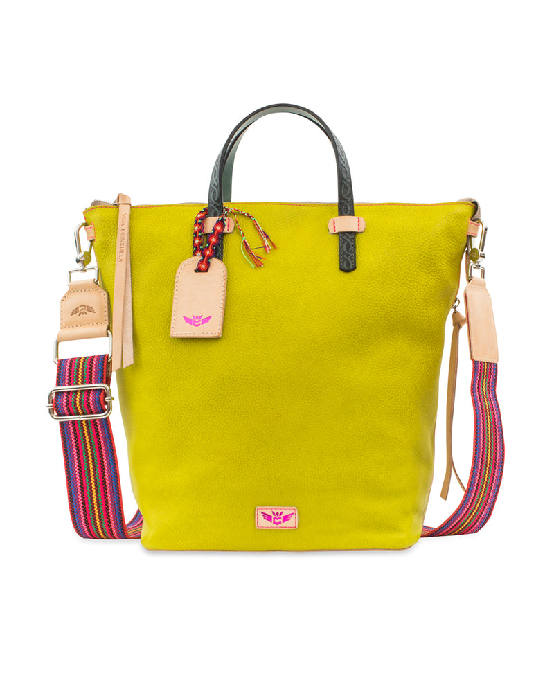 Margarita Sling in limon pebbled leather by Consuela, front view