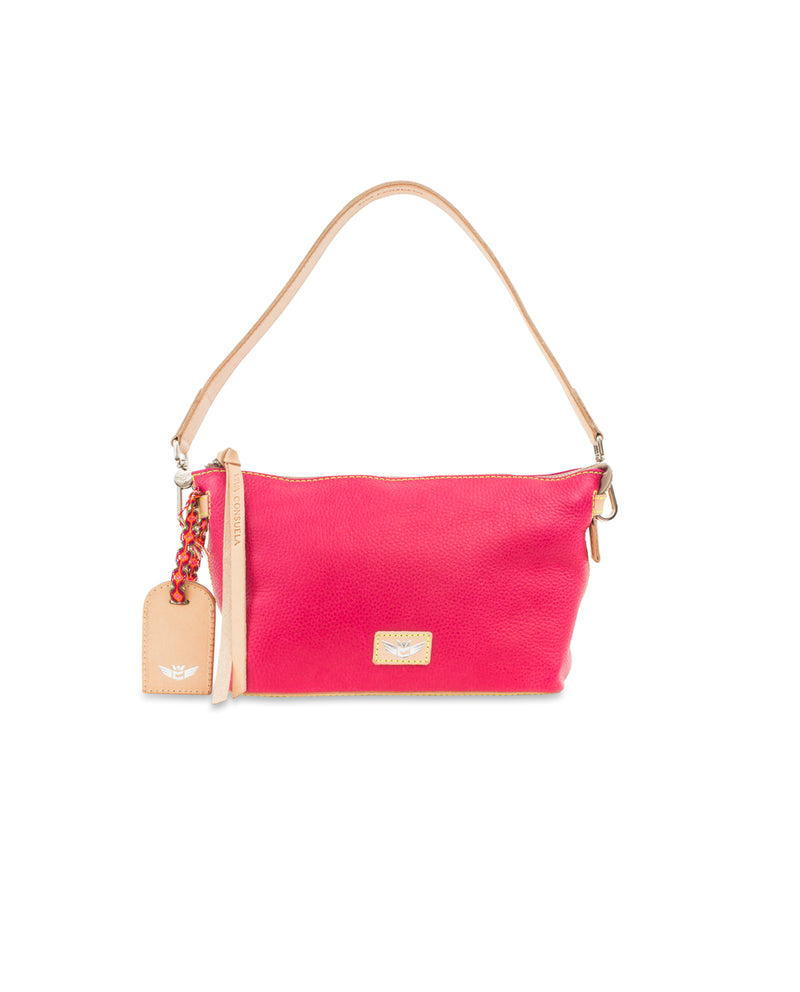 Rosa Your Way Bag in pink pebbled leather by Consuela, front view