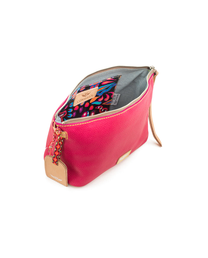 Rosa Your Way Bag in pink pebbled leather by Consuela, interior view