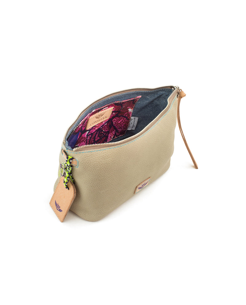 Paloma Pouch in pebbled leather by Consuela, interior view