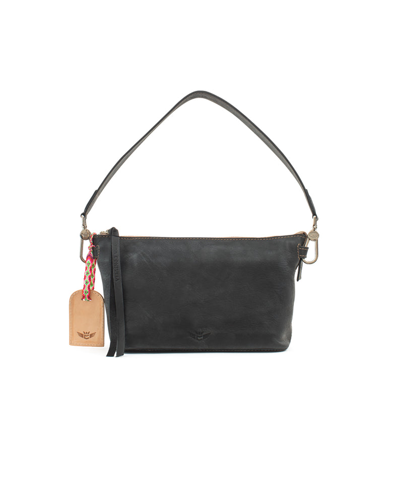 Evie Pouch in black pebbled leather by Consuela, front view