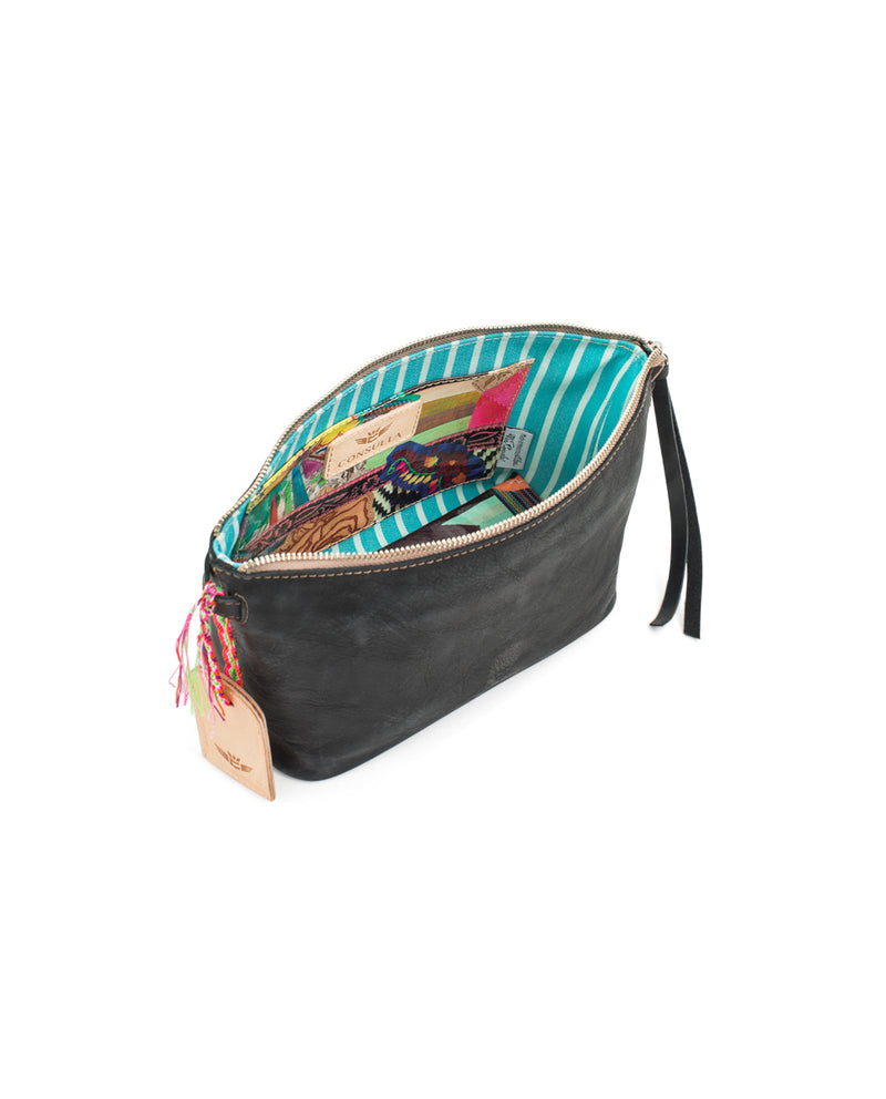 Evie Pouch in black pebbled leather by Consuela, interior view