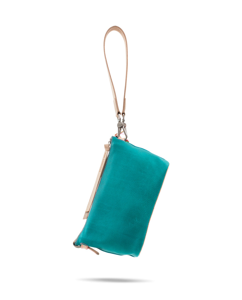 Guadalupe Pouch in turquoise pebbled leather by Consuela, back view