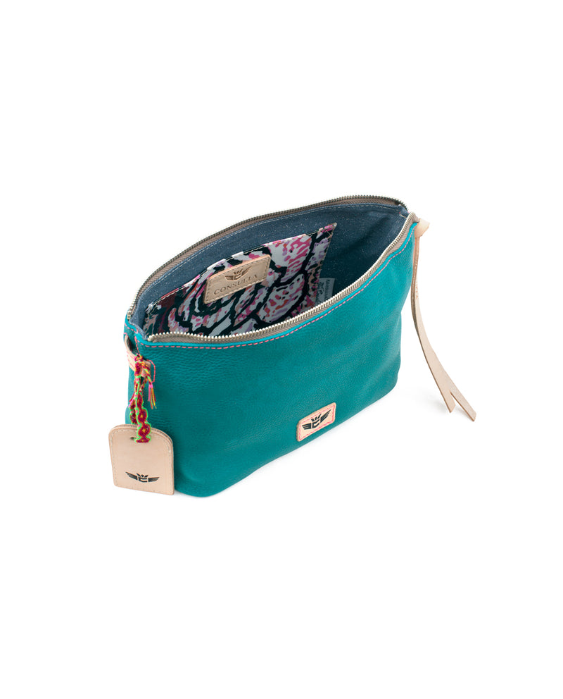 Guadalupe Pouch in turquoise pebbled leather by Consuela, interior view