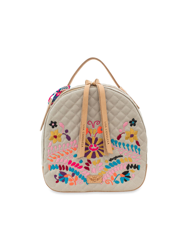 Echo City Pack in cream quilted waxed canvas with floral embroidery, by Consuela, front view