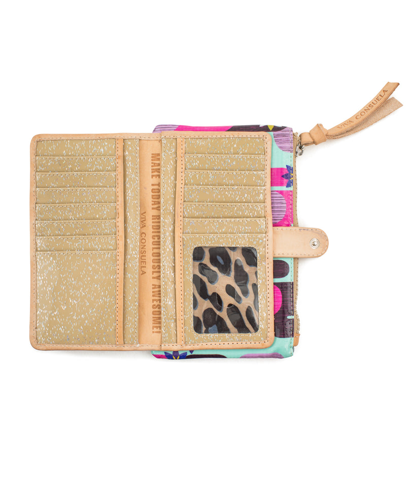 Buffy Slim Wallet in ConsuelaCloth™ by Consuela, open view