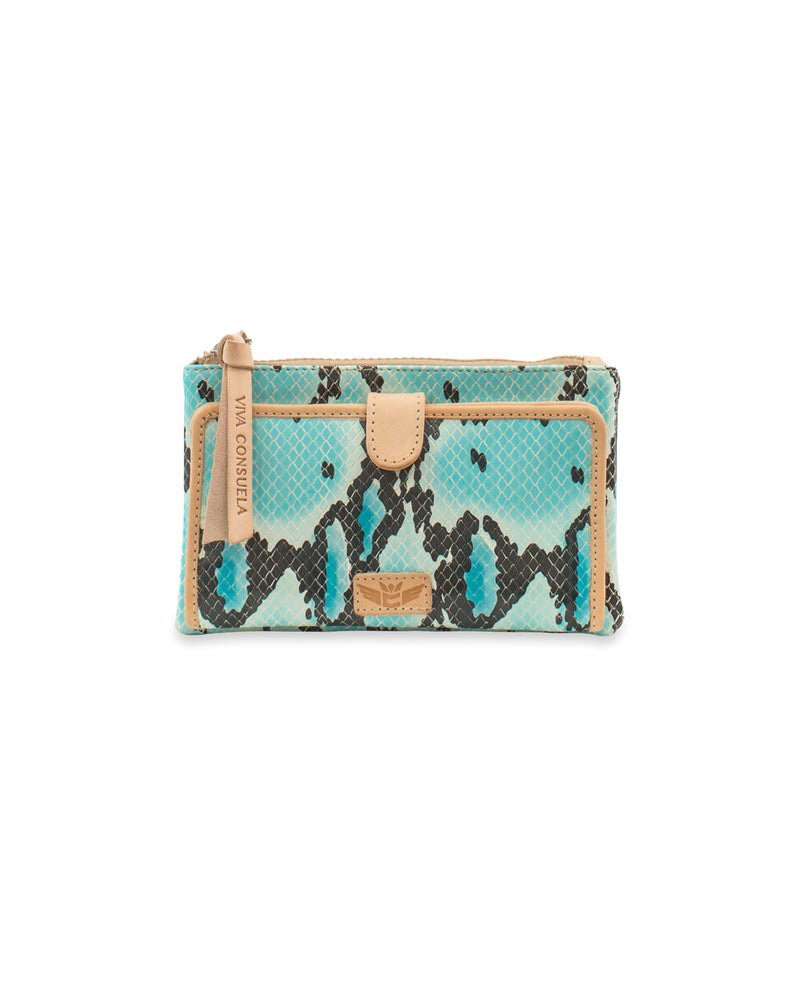 Carmen Slim Wallet in blue snake print by Consuela, front view