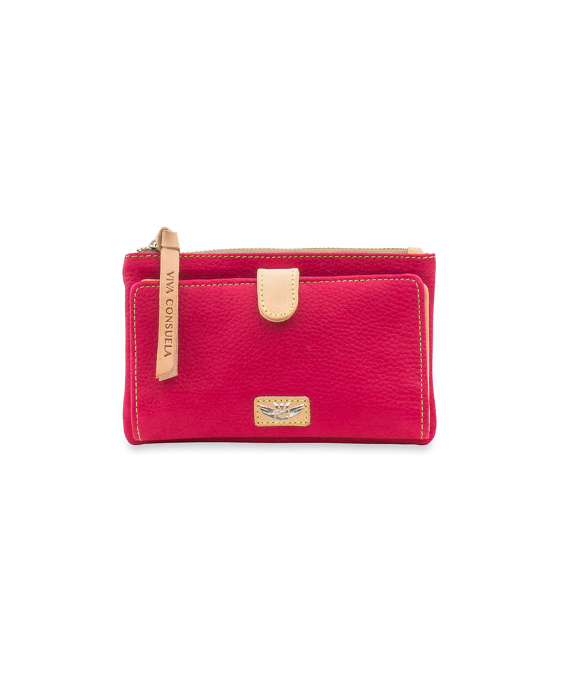 Rosa Slim Wallet in pink leather by Consuela, front view