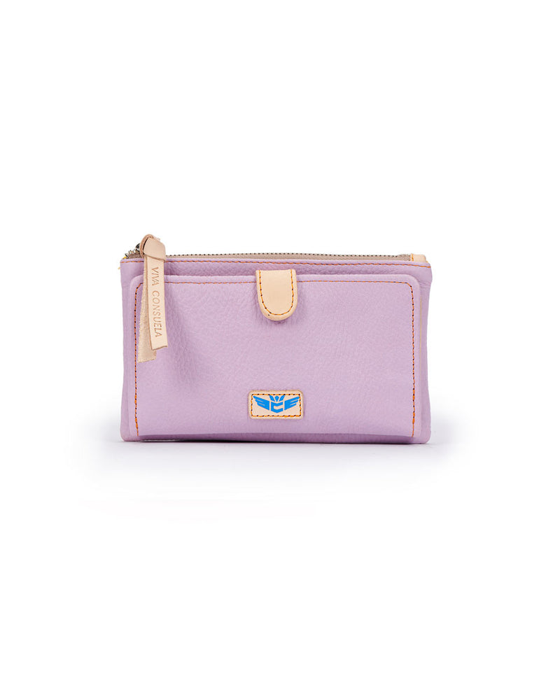 Lila Slim Wallet in lilac pebbled leather by Consuela, front view