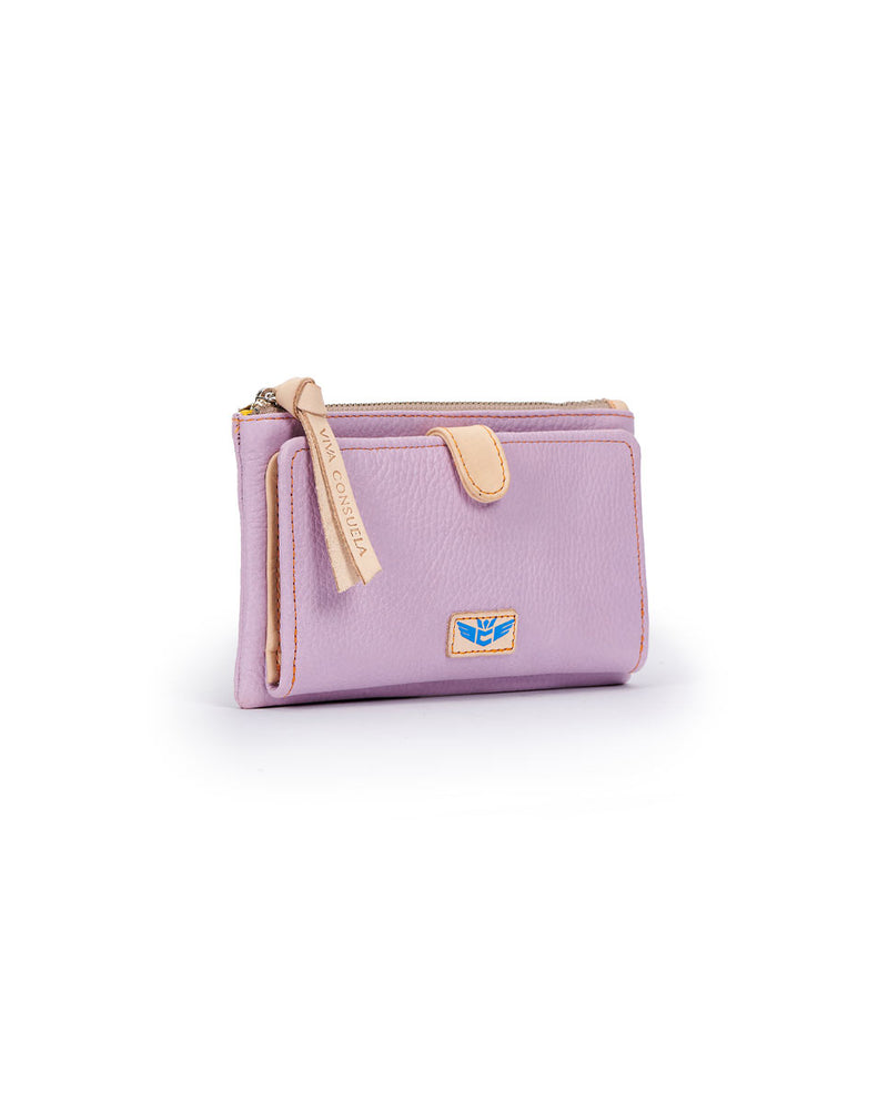 Lila Slim Wallet in lilac pebbled leather by Consuela, side view
