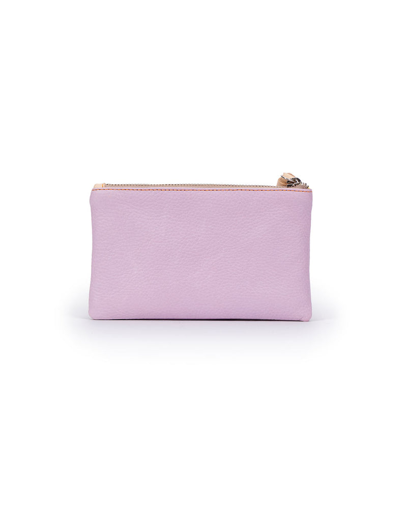 Lila Slim Wallet in lilac pebbled leather by Consuela, back view