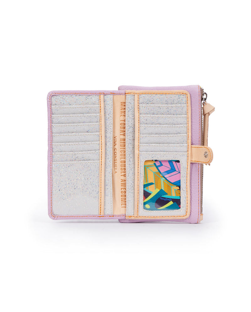 Lila Slim Wallet in lilac pebbled leather by Consuela, open view