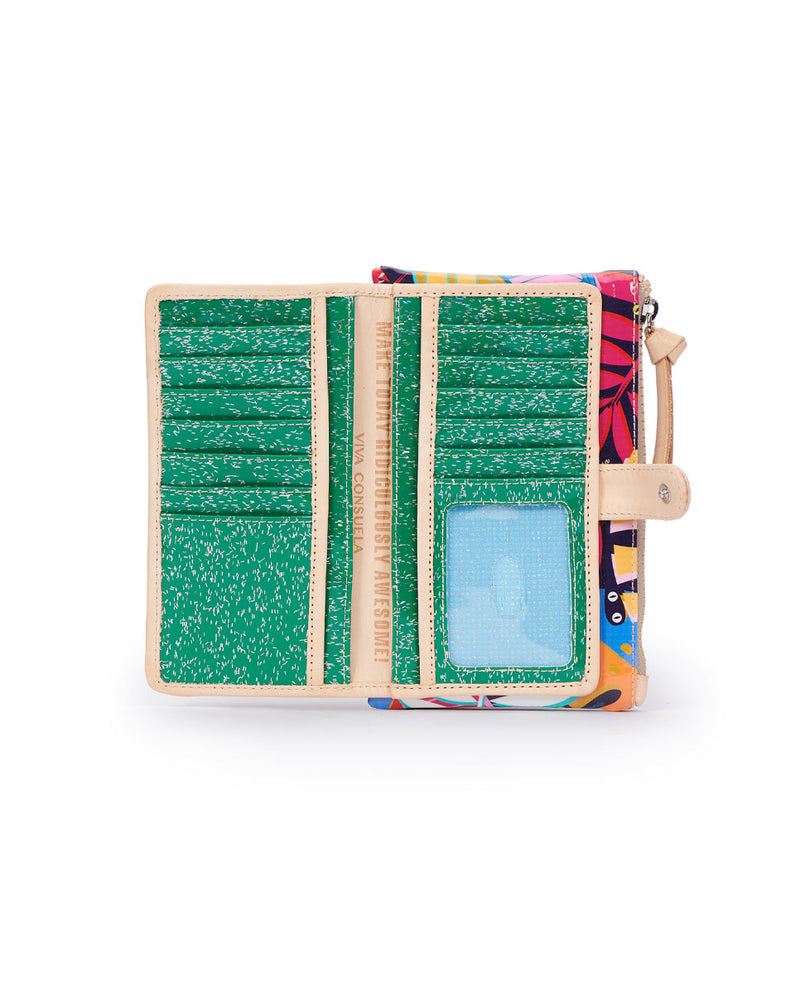 Maya Slim Wallet in Maya ConsuelaCloth by Consuela, open view