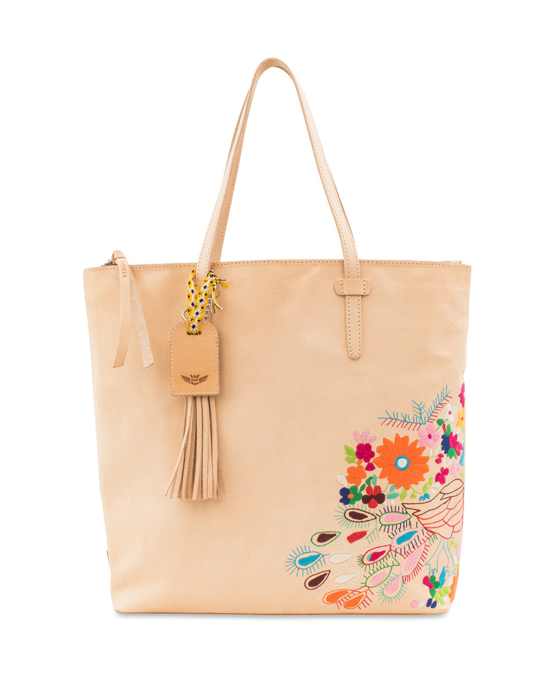 Sunny Market Tote in natural leather with embroidery by Consuela, front view