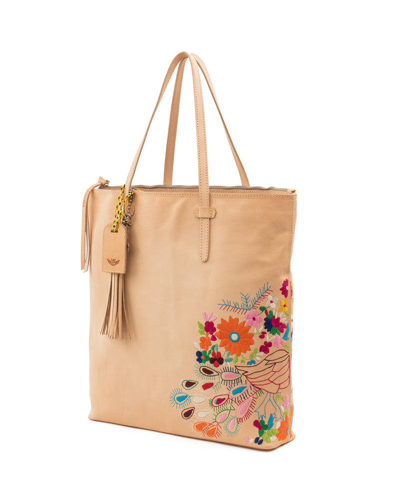 Sunny Market Tote in natural leather with embroidery by Consuela, angled view