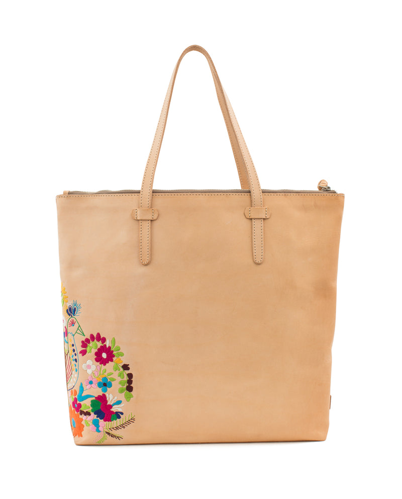 Sunny Market Tote in natural leather with embroidery by Consuela, back view