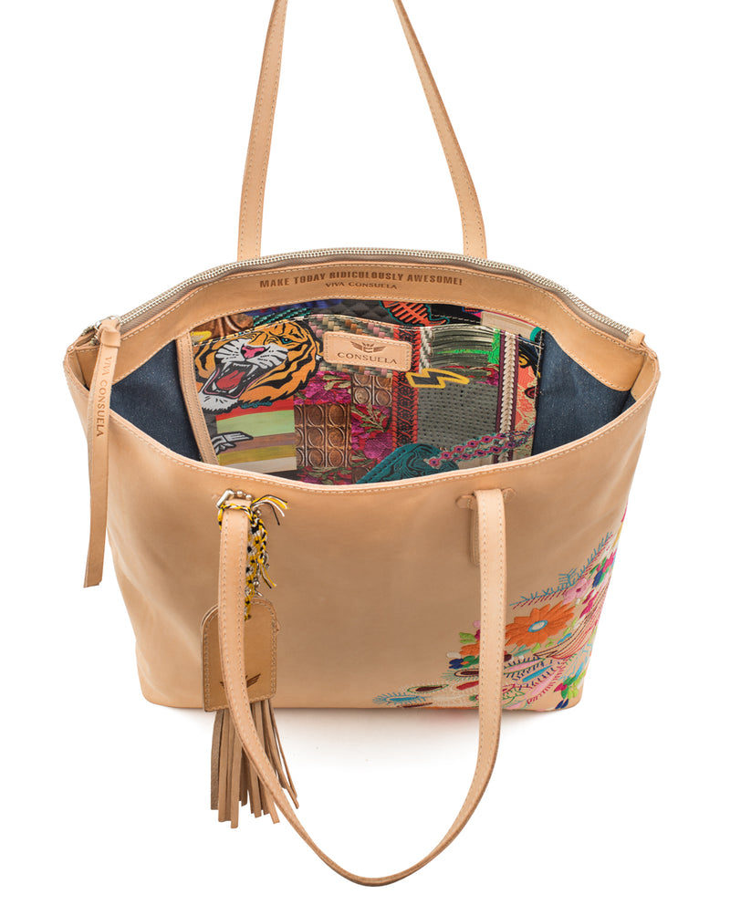 Sunny Market Tote in natural leather with embroidery by Consuela, interior slide pocket