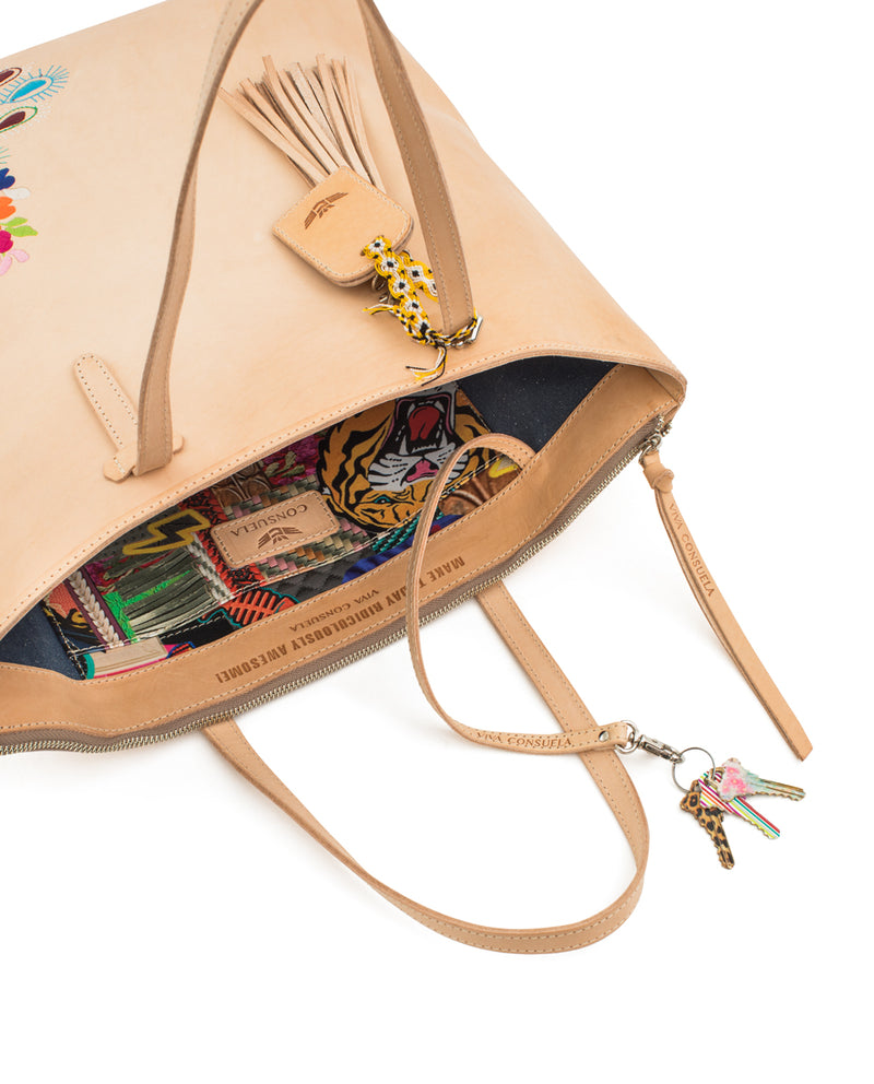 Sunny Market Tote in natural leather with embroidery by Consuela, interior