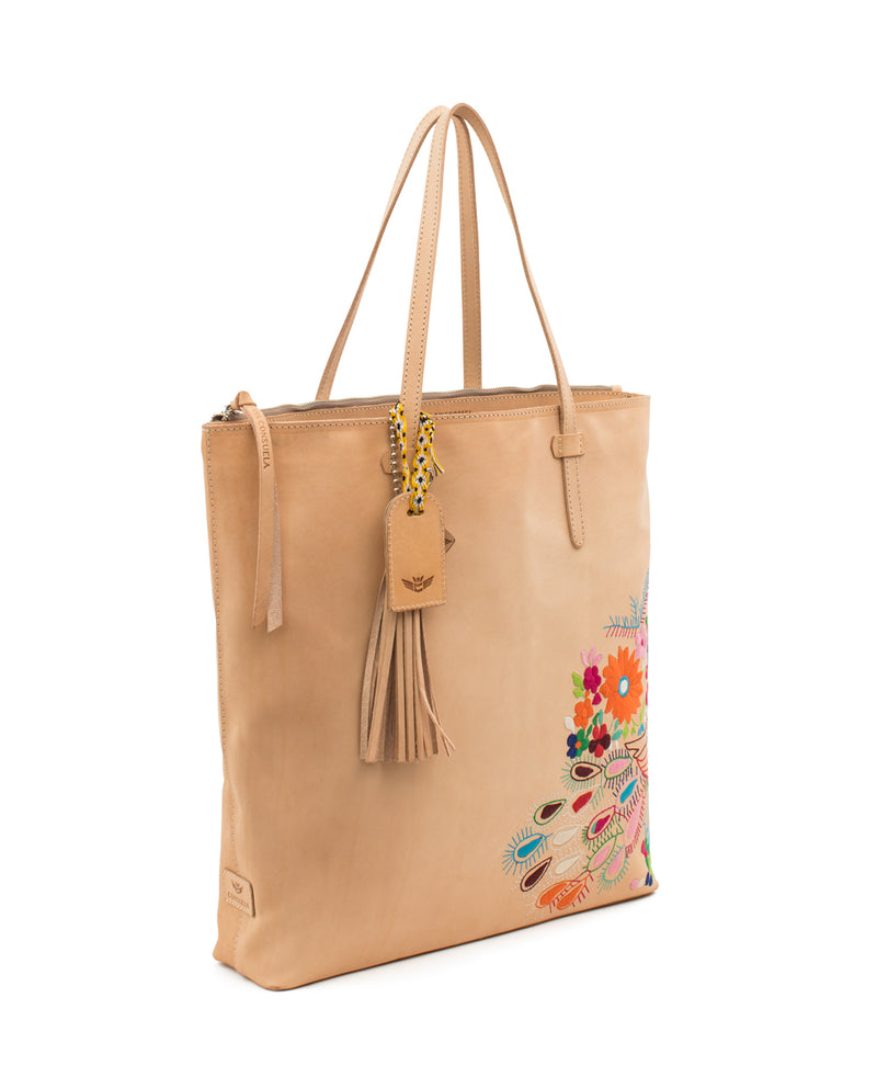 Sunny Market Tote in natural leather with embroidery by Consuela, side view