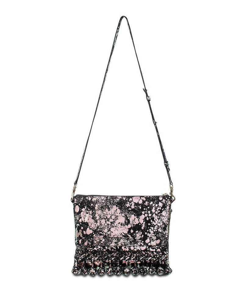 Charli Fiesta Crossbody in black metallic leather by Consuela, front view with strap