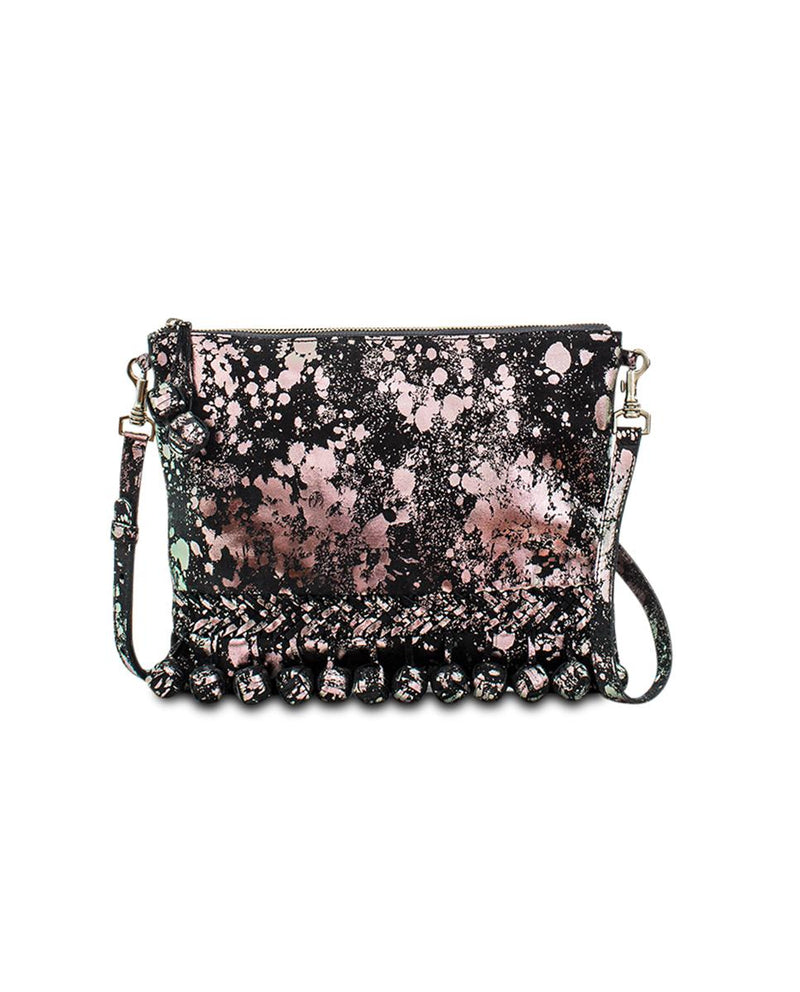Charli Fiesta Crossbody in black metallic leather by Consuela, front view